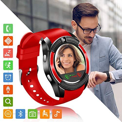 Tipmant Reloj Inteligente Mujer Hombre SN08 Smartwatch Pantalla táctil con Ranura para Tarjeta SIM Cámara Podómetro Pulsera de Actividad para Smartwatch Mujer Hombre para Xiaomi Samsung Huawei (Rojo)