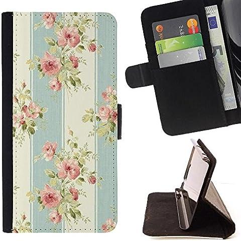 For HTC One Mini 2 M8 MINI Case , Tela Pastel Vintage flor del pétalo- la tarjeta de Crédito Slots PU Funda de cuero Monedero caso cubierta de piel
