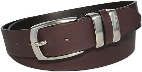 ITALOITALY - Echte Italienische Ledergürtel mit Doppelschlaufe aus Metall, ca. 3,5 cm Breit, Dunkelbraun, Handarbeit, Made in Italy, Unisex, Kürzbar