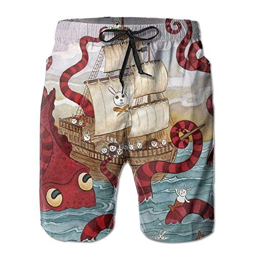 Rabbit Mermaid Pirate Octopus Pattern Men's/Boys Casual Swim Trunks Short Elastic Waist Beach Pants with Pockets XXL Fox Girls Capris