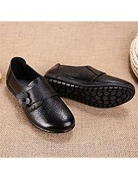 Spring - Zapatos de mujer de piel para madre (parte inferior plana, velcro, boca profunda, media y anciana), color negro