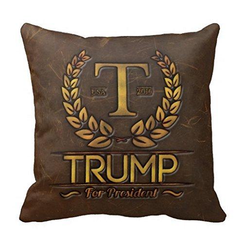 fjfjfdjk Trump for President Leather Gold Branding Logo Throw Pillow Case 18