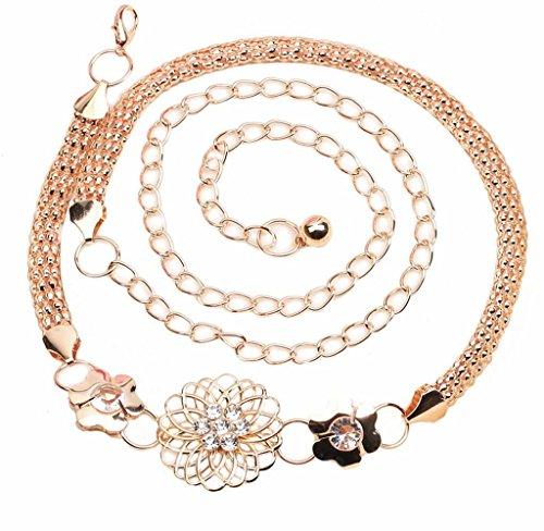 Cinturones para Mujeres, Holacha Cinturones Banda de Cintura de Flor Moda Elegante Dorado
