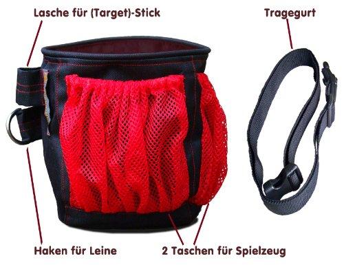 Leckerli-Beutel, Leckerli-Tasche, (Schwarz/Rot), Futtertasche für Hundetraining und Spaziergang