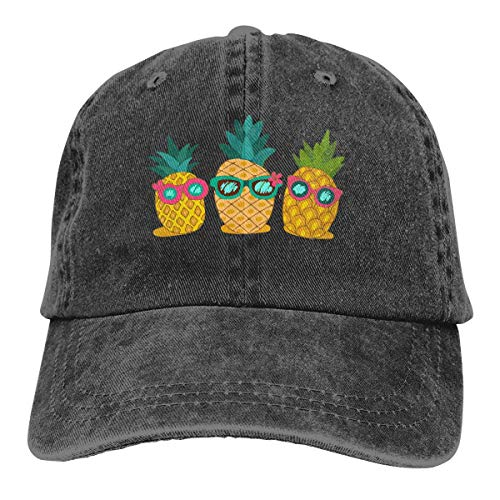 Cowboy-Hut Sonnenkappen Sport Hut Tropical Summer Pineapples with Sunglasses Men's Women's Adjustable Baseball Hat Denim Fabric Dad Hats Sports Cool Youth Golf Ball Unisex hiking Cowboy hat hip hop