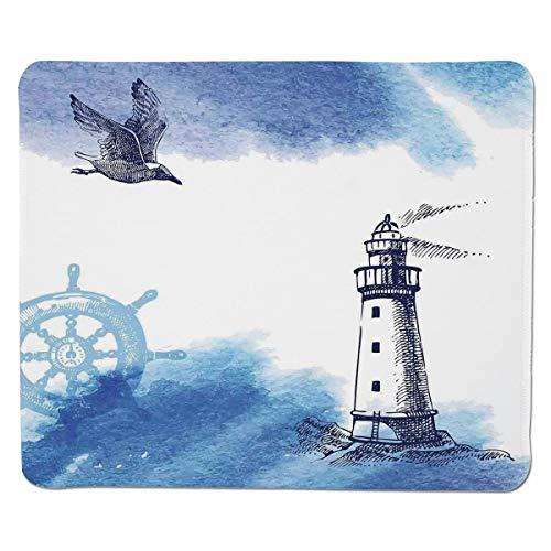 Bauernhaus Dekor, Aquarelle mit Gull Ancient Anchor Leuchtturm nautische Thema, blau weiß, genähte Kante Rutschfeste Gummi