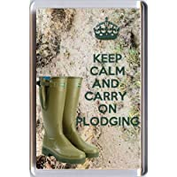 KEEP CALM and CARRY ON PLODGING Fridge Magnet printed on an image of a pair of Le Chameau Wellies Wellington Boots from our Keep Calm and Carry On series - an original Gift Idea.