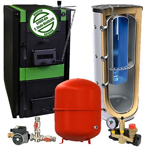20 oder 25 kW Guss Festbrennstoffkessel KOMPLETTPAKET mit 800/200 oder 1000/200 L Kombispeicher + 140 L Ausdehnungsgefäß + Zubehör