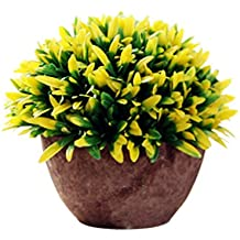 Modernas plantas artificiales con macetero con arbustos de plástico iTemer para decoración de mesa, aire libre, oficina, casa, cocina, jardín; tamaño 15 x 13cm