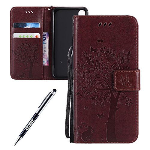 iPhone X Custodia in Pelle, Cover Custodia Per iPhone X, JAWSEU Retro Colore solido [Shock-Absorption][Anti Scratch] Wallet PU Leather Folio Case Cover per iPhone X Custodia Portafoglio con Super Sott Albero e gatti, Marrone