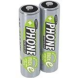 ANSMANN Akku AA Mignon 800 mAh 1,2V NiMH für Schnurlostelefon 2 Stück - Wiederaufladbare Batterien mit geringer Selbstentladung maxE - Akkus ideal für DECT Telefon schnurlos - Rechargeable Battery