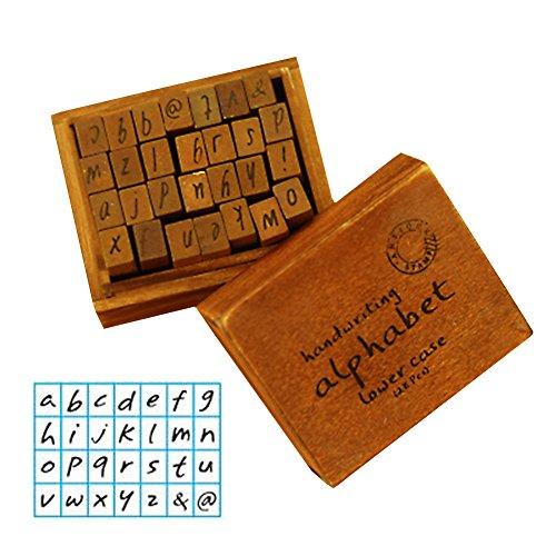 gossipboy Vintage Holz Gummi Stempel Buchstaben Alphabet für Heimwerker Craft Karte machen Happy Planer Scrapbooking Supplies Reisenden Fachzeitschriften lower case handwriting