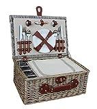Red Hamper Rouge Hamper FH076 4 Personne Chiller Panier Pique-Nique des Lunettes, Brown, 30 x 40 x 19 cm, Marron