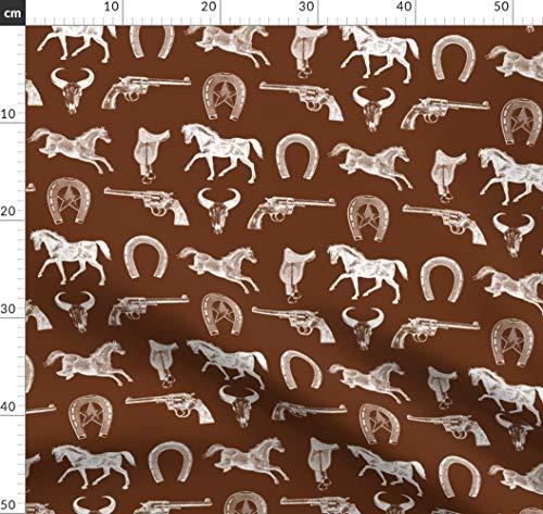 Western, Wilder Westen, Sattel, Pferd, Gewehr, Stier Stoffe - Individuell Bedruckt von Spoonflower - Design von Cloudycapevintage Gedruckt auf Bio Baumwoll Interlock-Jersey -
