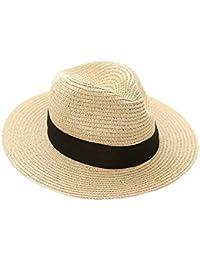 Alessioy Sombrero De Panamá para Sombrero Sombrero Hombre Grande con De Estilo único Verano Protector Solar