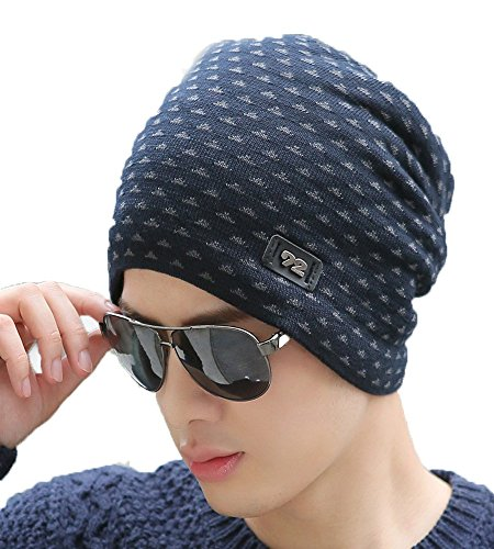iSweven 1067b Blue imported Fancy beautifully wooven expandable very soft beanie cap hat for Men Women GIrls