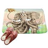 LvRaoo Fußmatte Willkommen für Haustür Innen und Aussen Fussmatten Rutschfest Schmutzfangmatte Fußabtreter Fussabstreifer - Mandala Elefant Drucke (# 12, 60*40cm)