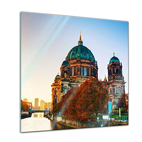 Bilderdepot24 Glasbild Berliner Dom und Spree - 50x50 cm - Deko Glas - brilliante Farben, inkl. Aufhängung
