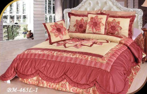 DaDa Bedding BM465L-1 3-Piece Patchwork Sunset Rubies Quilt Set, Twin, Burgundy by DaDa Bedding