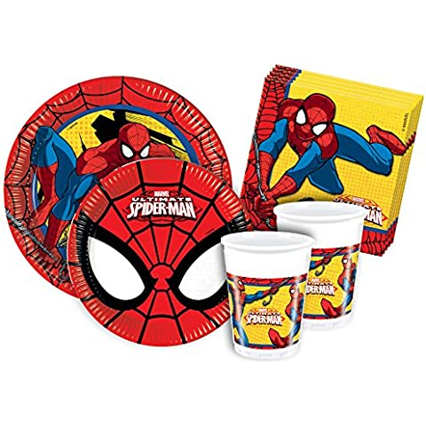 Ciao Y2493 - Kit Party Festa in Tavola Spider Man per 24 Persone (112 Pezzi: 24 Piatti Grandi, 24 Piatti Medi, 24 Bicchieri, 40 Tovaglioli) - Piatti Di Plastica Tovaglioli