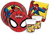 Ciao Y2494–Kit Party Party in-Spider Man für 8Personen (44Stück: 8Teller groß, mittelgroße 8Teller, 8Becher, 20Servietten)