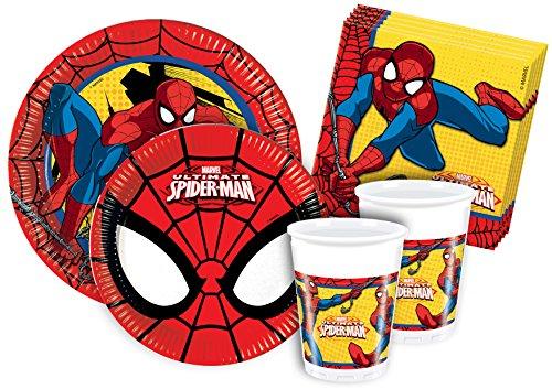 Ciao Y2493 - Kit Party Festa in Tavola Spider Man per 24 Persone (112 Pezzi: 24 Piatti Grandi, 24 Piatti Medi, 24 Bicchieri, 40 Tovaglioli)