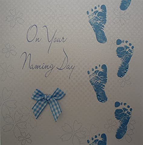 White Cotton Cards Blue Footprints
