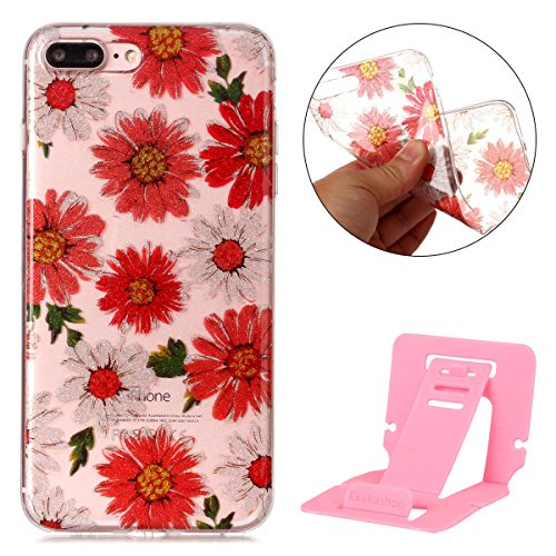 iphone 7 plus Glitter Custodia, iphone 7 plus Silicone Cover, Trasparente Caso for iphone 7 plus 5.5, Ekakashop Moda Fantasia Creative 3d Gel Soft TPU Silicone Gomma Cover, Colorato Painting High pen Red Daisies