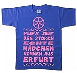 Artdiktat Kinder T-Shirt - Pups auf Den Storch - Echte Mädchen Kommen Aus Erfurt 152/164, Blau
