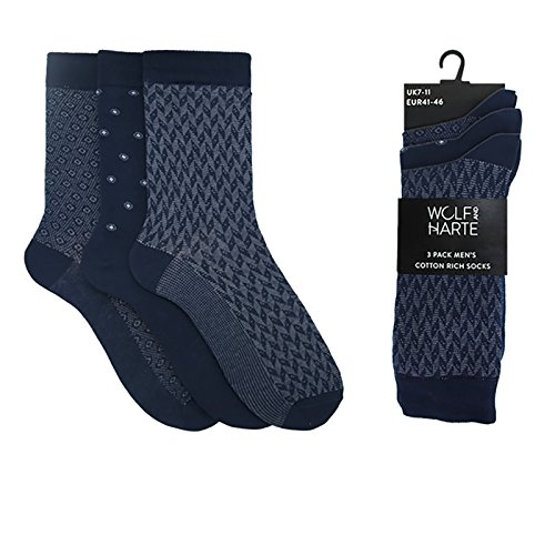 3 Pairs Mens Cotton Rich Socks Navy Grey Pattern Formal Work Suit UK 7-11