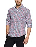 Peter England Men's Checkered Slim Fit Cotton Casual Shirt (ESF517012086_Whitewithred_42)