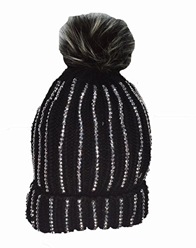a77034075fa KGM Accessories Luxury Knitted Diamante bobble hat with Faux fur pom pom  Black