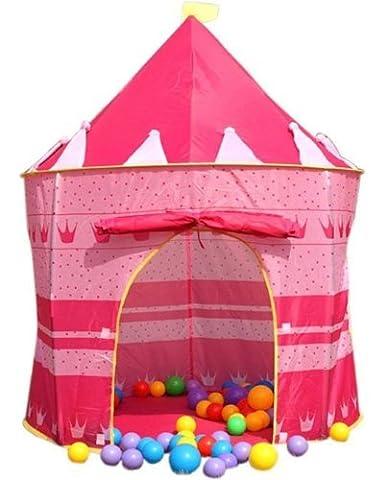 Enfants Tente de Jeu Château Princesse Château Enfants Pop Up Piscine à Balles Jouet pour Bébé Jouer Tente Maison Jardin Jouet 'Intérieur ou à L'Extèrieur Pour Garçons Fille (Rosa)