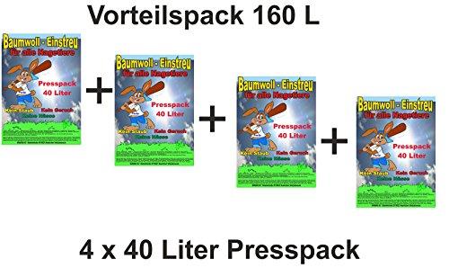 Baumwolleinstreu 160 l Presspack, Vorteilspack Hamster, Mäuse , Zwergkaninchen, Meerschweinchen, Einstreu für Nager
