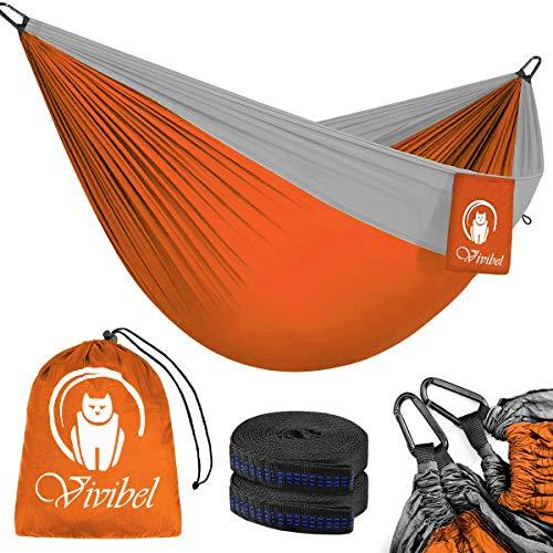 Vivibel Reise Camping Hängematte, Outdoor Hammock 300 KG Traglast(275 x 140 cm) Atmungsaktiv, Schnelltrocknendes Nylon Spinning-Fallschirmmaterial   2 x Premium Karabiner, 2 x Nylon-Schlingen