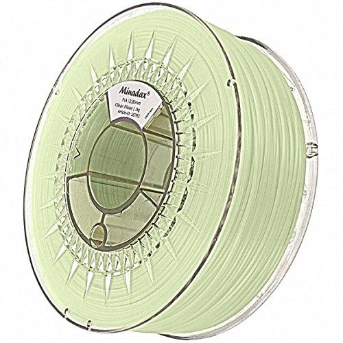 Minadax® 1kg Premium Qualitaet 3mm (2,85mm) PLA-Filament transparent fluoreszierend mit UV-Licht fuer 3D-Drucker hergestellt in Europa