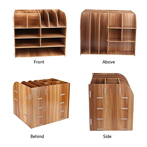 Schreibtischorganizer Holz, Lesfit Tisch Organizer Büro Fernbedienung Box Organisation Aufbewahrungsbox Schreibtisch Kinder (Braun) - 6