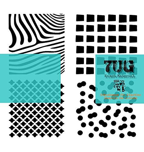 7UG Designer Schablone (13x13cm) Vier Strukturen für Mixed Media Künstler