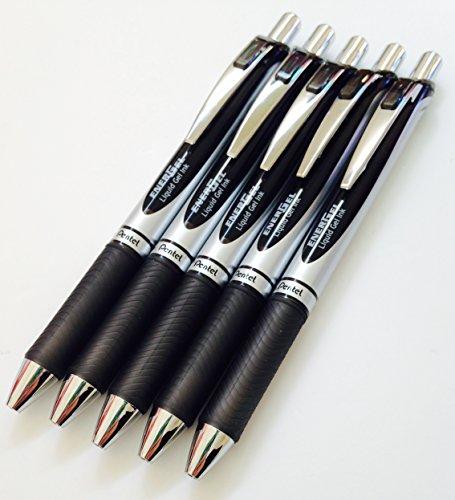 5x Pentel BL77EnerGel Retractable Roller Ball Stifte. Schwarz Tinte. 0,7mm Metallspitze. Gummi Grip. bl77-a X5
