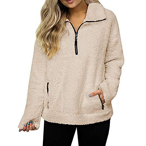 Luckycat Frauen Sweatshirt Mantel Winter warme Wolle Reißverschluss Taschen Baumwolle Mantel Outwear Jacken Mäntel Sweatjacke Winterjacke Fleecejacke Steppjacke