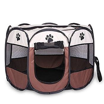 SODIAL Portable pliant Animaux de compagnie tente chien maison cage chien chat tente parc chiot chenil operation facile octogonale cloture #A