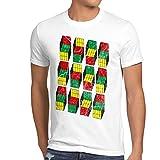 style3 Sheldon Cubes Herren T-Shirt, Größe:L;Farbe:Weiß