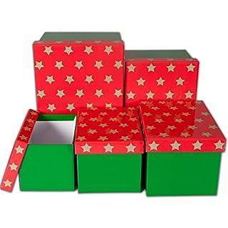 Amimour Hexagonal Gift Box Set–Stars–Set of 5 Green