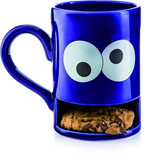 Donkey Products - Mug Monster Keks-Becher | Lustige blaue Tasse mit praktischem Keksfach für krümelnde Monster (Becher Cookie)