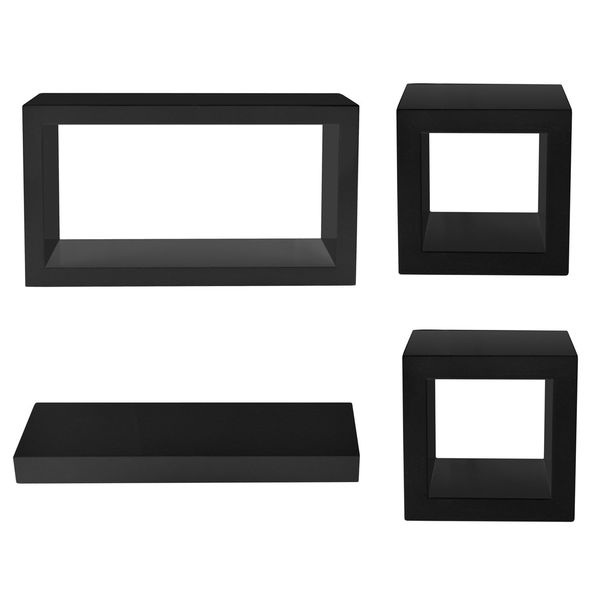 ☆chinkyboo creative weden wood effectcircles roundtshelf  - ☆chinkyboo creative weden wood effectcircles roundtshelf retro floatingwall cube shelf storage display unit cubes shelves boards☆ (set ofblack)