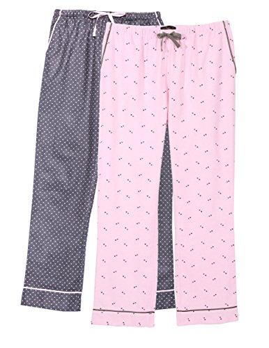 Damen Flanell Lounge Hose 2er Pack - Twinkle-Pindots Grau-Pink - Groß (Damen Lounge-hose Flanell)