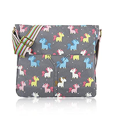 Craze London Designer Style Canvas Animal Print Cross body Messenger Bag with shoulder Strap Travel bag School Office Casual