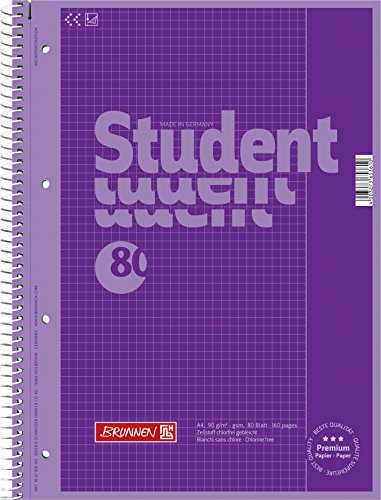 Brunnen 1067926160 Notizblock / Collegeblock Student Colour Code (A4 kariert, Lineatur 26, 90 g/m², 80 Blatt) violett