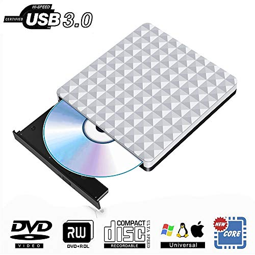 Externes CD DVD Laufwerk USB 3.0,Tragbare CD DVD Brenner Extern Player Spieler Kompatibel für Apple MacBook Pro iMac Windows 7/8/10 Linux Laptops PC