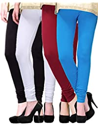 2Day Women's Cotton Churidaar Legging Turk/Maroon/Black/White (Pack Of 4)